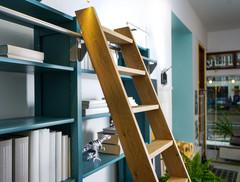 Houten bibliotheektrap (boekenkast ladder)