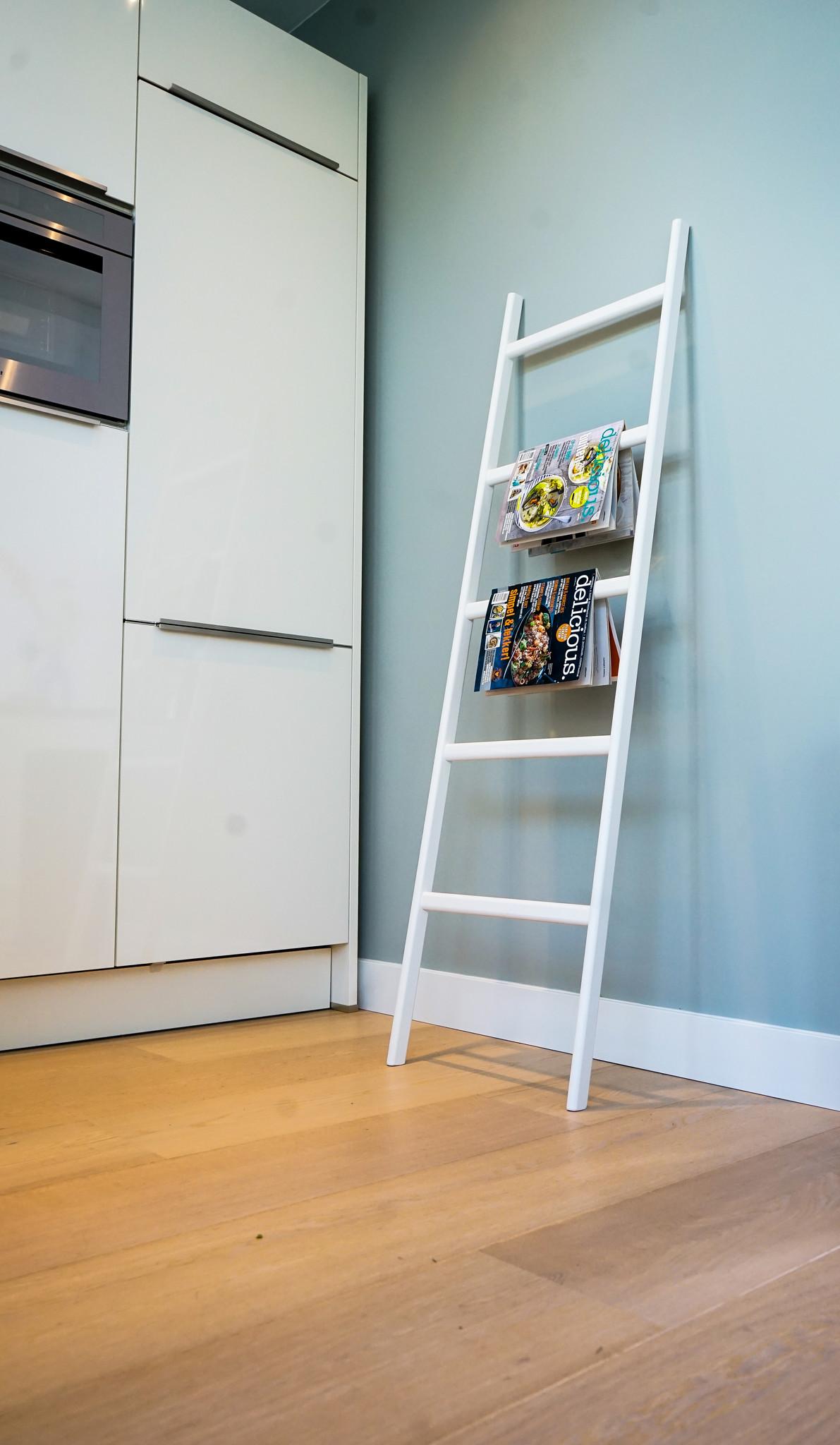 Houten Decoratie Ladder Eikenhout Wit Gelakt