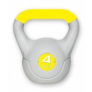 Kunststof aerobic kettlebell 4 kg geel