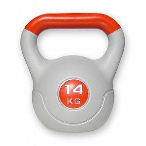 Kunststof aerobic kettlebell 14 kg rood