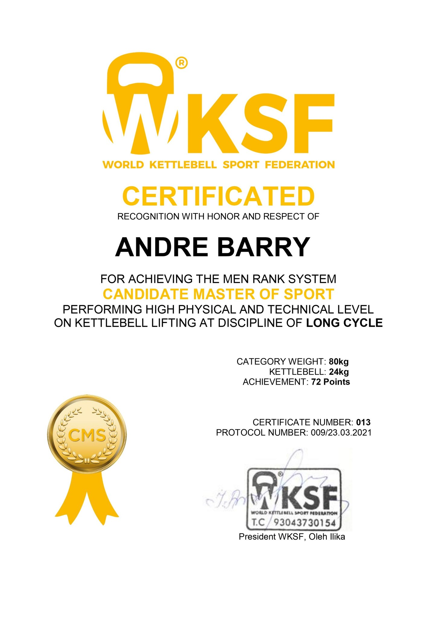 Candidate Master of Sport for LongCycle – Barry Andre