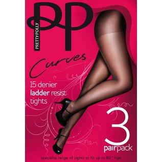 "Pretty Polly Pretty Polly ""Curves"" 15D. Ladder Resist panty's  voor een maatje meer in 3 paar voordeelverpakking."