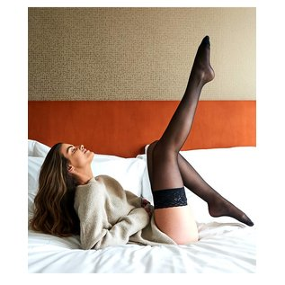 Pretty Polly Pretty Polly 15D. Sheer Lace Top Hold Ups (2 pair)