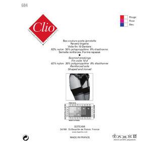 Clio 15 denier kousen met naad voor jarretelles 100% nylon