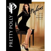 """Pretty Polly 10D. """"Nylons"""" Lace Top Suspender Stockings"""