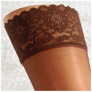 """Pretty Polly Pretty Polly 10D. """"Nylons"""" Lace Top Suspender Stockings"""