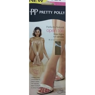 Pretty Polly Perfectly 8 denier Natural open toe kneehighs for sandals