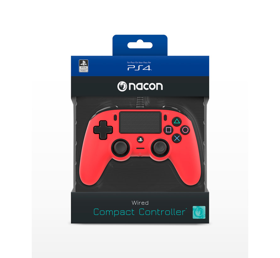 PS4 Nacon Wired Compact Official Licensed Controller (rood) kopen