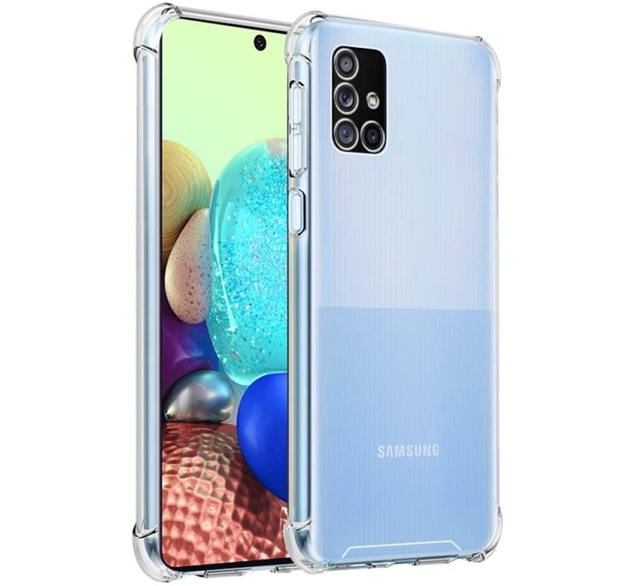 Samsung A71 Hoesje/cover siliconen anti-shock transparant