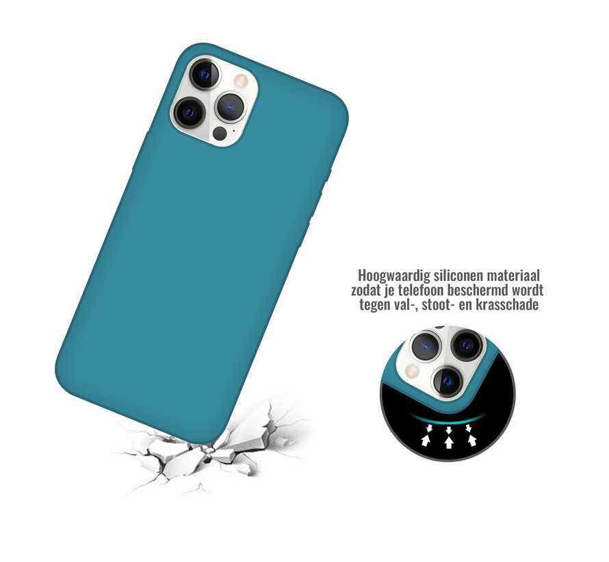 iPhone 11 Pro Case Hoesje Siliconen Back Cover - Apple iPhone 11 Pro - Zeeblauw