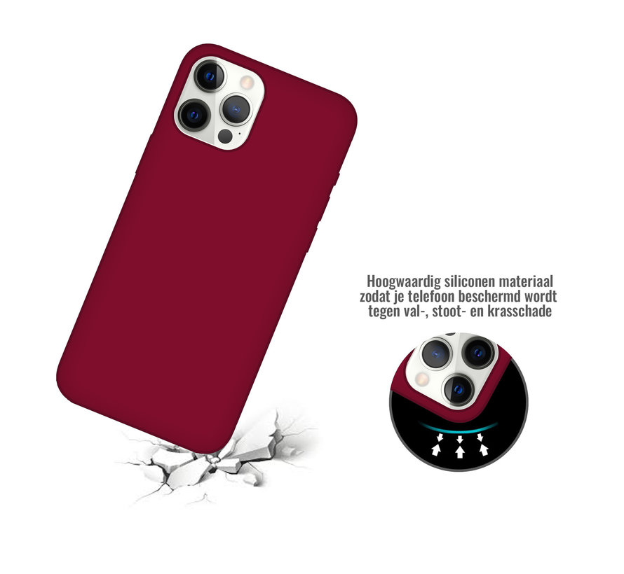 iPhone 11 Pro Max Back Cover Hoesje - Siliconen - Case - Backcover - Apple iPhone 11 Pro Max - Bordeaux Rood