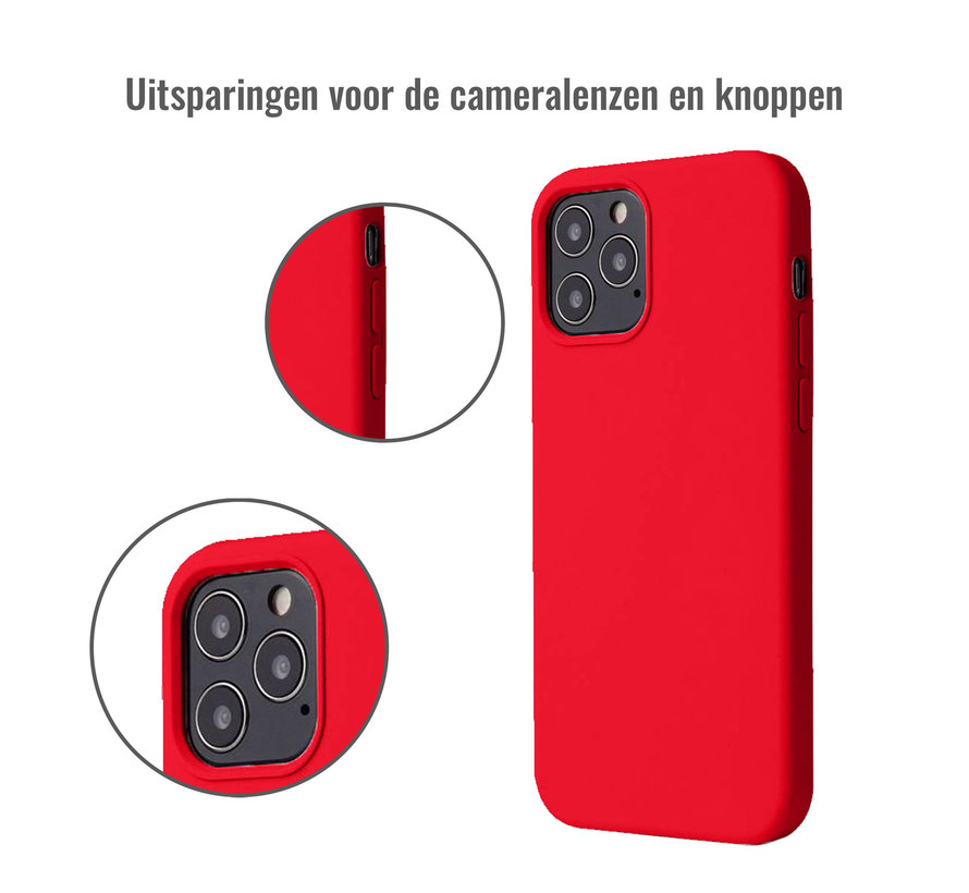 iPhone 12 Case Hoesje Siliconen Back Cover - Apple iPhone 12 - Rood