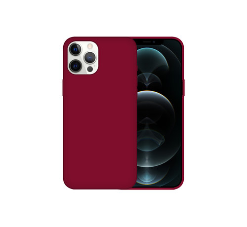 JVS Products iPhone 12 Back Cover Hoesje - Siliconen - Case - Backcover - Apple iPhone 12 - Bordeaux Rood