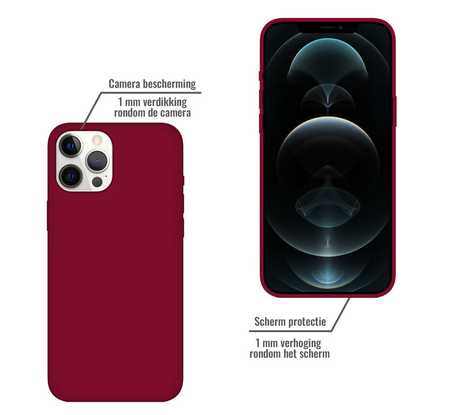 iPhone 12 Back Cover Hoesje - Siliconen - Case - Backcover - Apple iPhone 12 - Bordeaux Rood