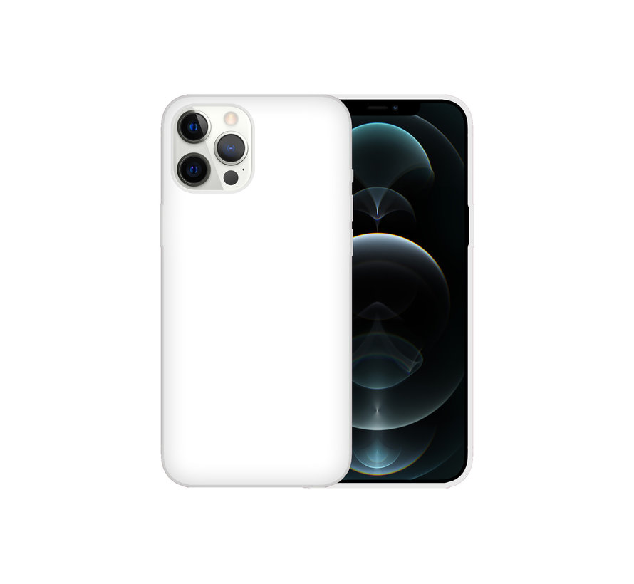 iPhone 12 Case Hoesje Siliconen Back Cover - Apple iPhone 12 - Wit