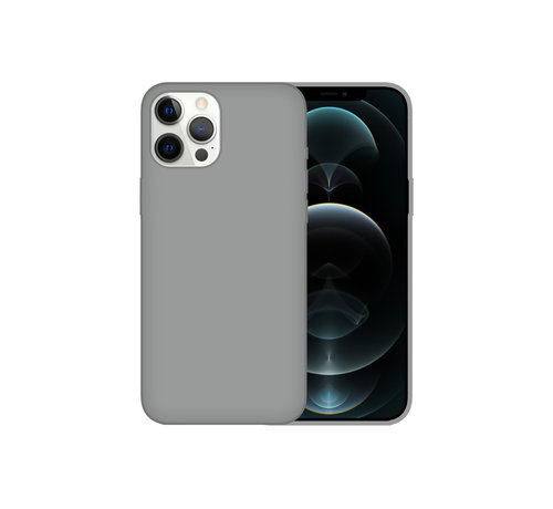 JVS Products iPhone 12 Back Cover Hoesje - Siliconen - Case - Backcover - Apple iPhone 12 - Grijs