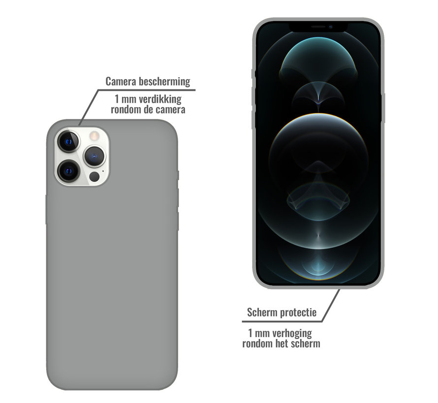 iPhone 12 Back Cover Hoesje - Siliconen - Case - Backcover - Apple iPhone 12 - Grijs