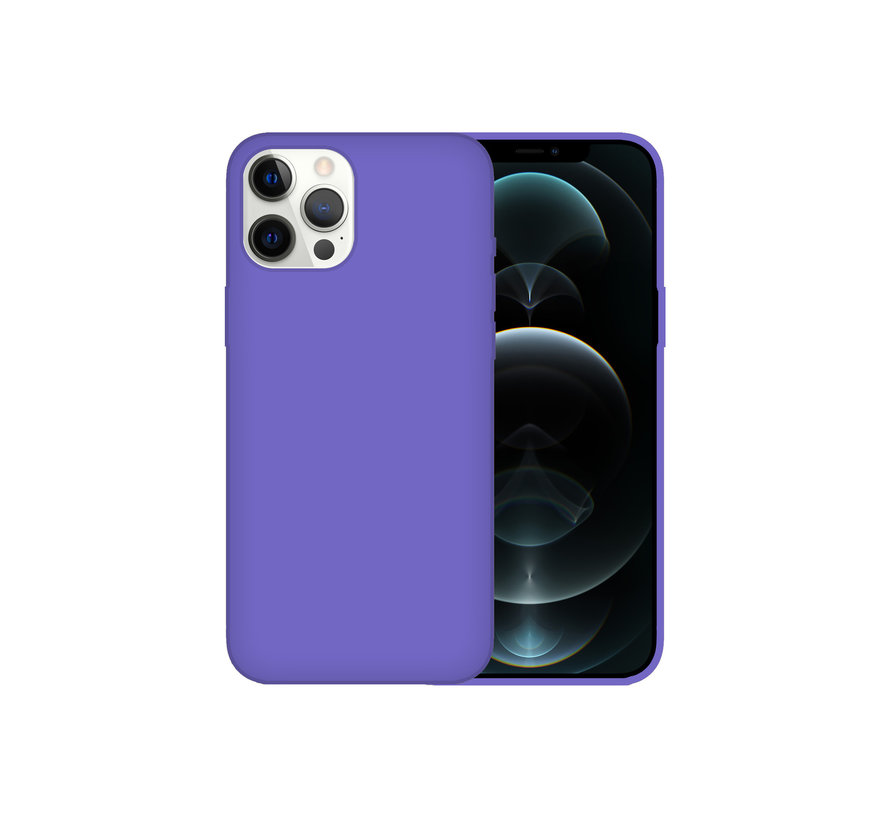 iPhone 12 Back Cover Hoesje - Siliconen - Case - Backcover - Apple iPhone 12 - Paars