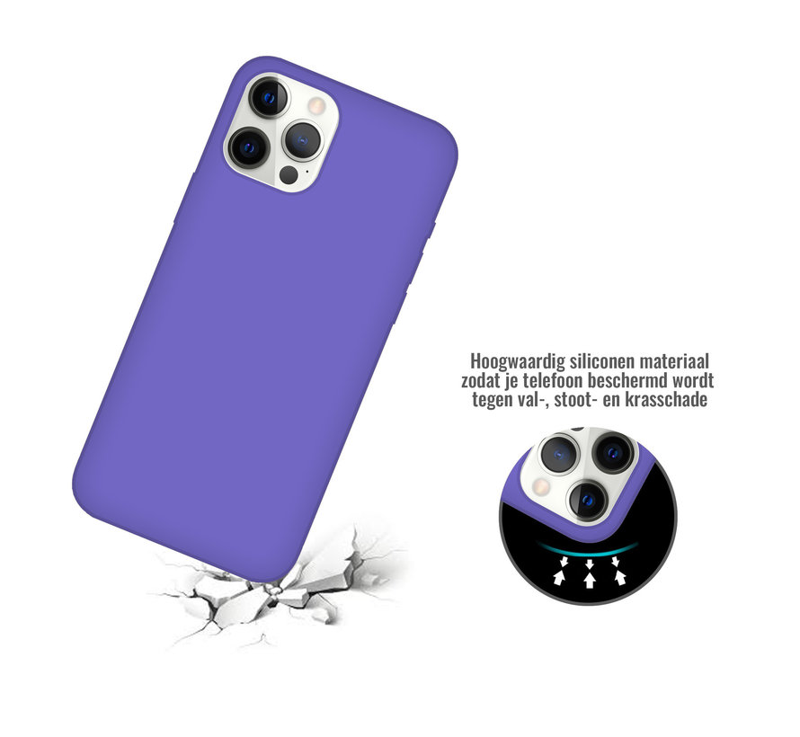 iPhone 12 Case Hoesje Siliconen Back Cover - Apple iPhone 12 - Paars