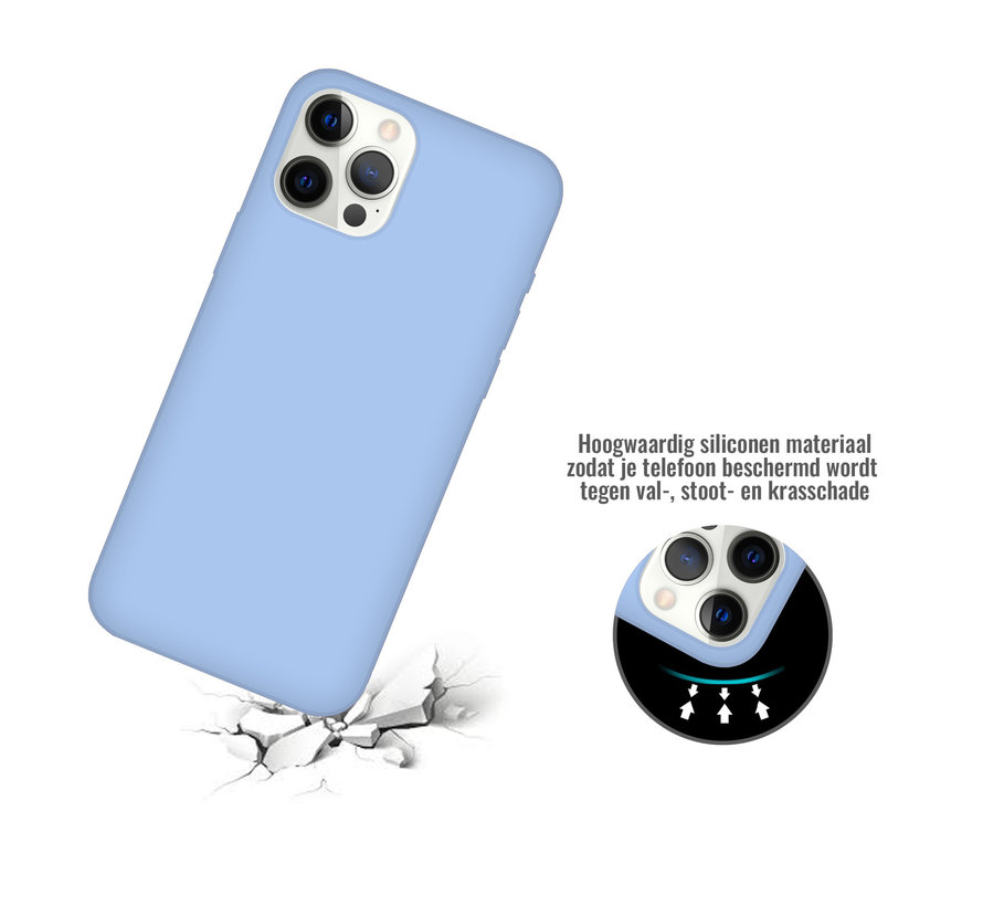 iPhone 12 Case Hoesje Siliconen Back Cover - Apple iPhone 12 - Paars/Blauw
