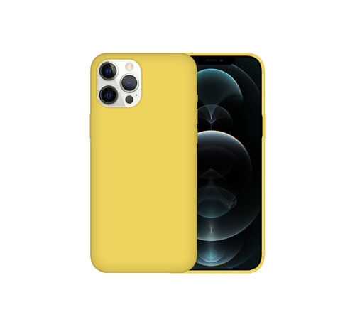 JVS Products iPhone 12 Back Cover Hoesje - Siliconen - Case - Backcover - Apple iPhone 12 - Geel