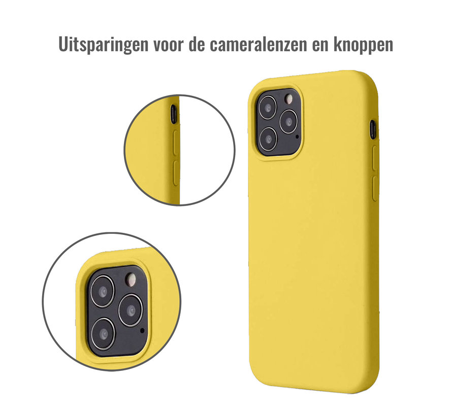 iPhone 12 Back Cover Hoesje - Siliconen - Case - Backcover - Apple iPhone 12 - Geel