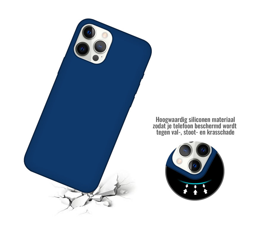 iPhone 12 Back Cover Hoesje - Siliconen - Case - Backcover - Apple iPhone 12 - Midnight Blue/Donker Blauw