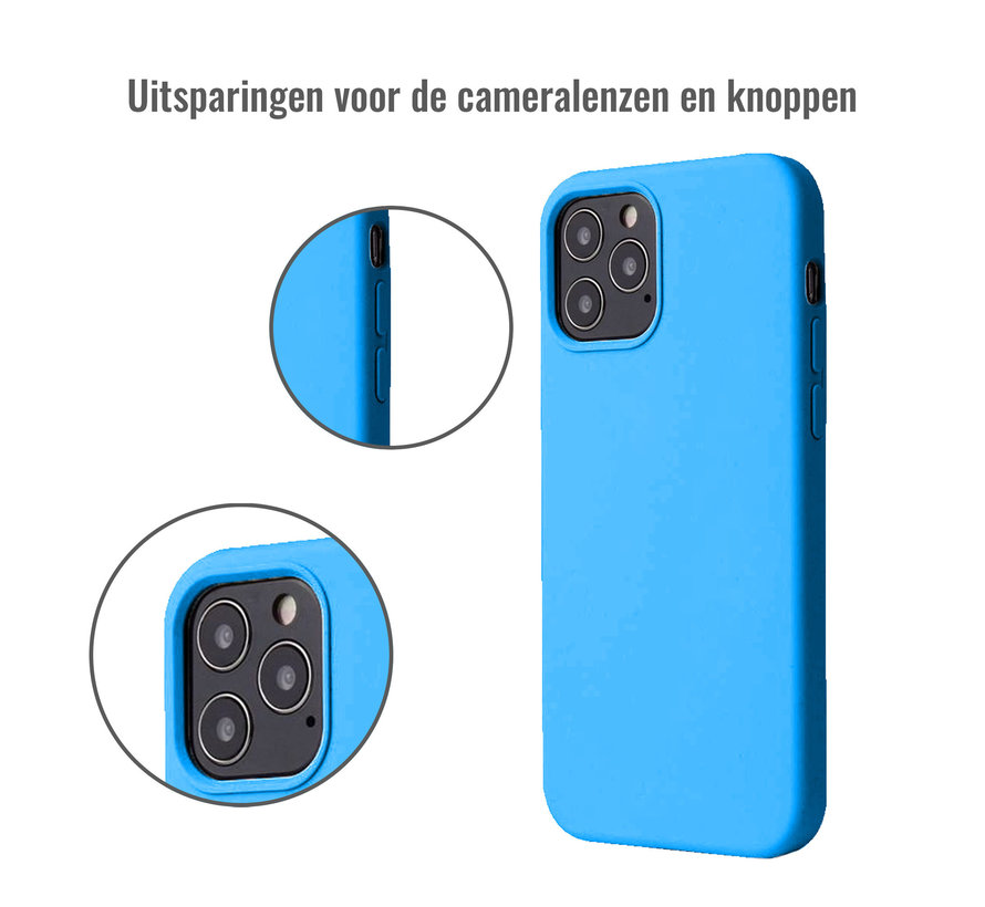 iPhone 12 Case Hoesje Siliconen Back Cover - Apple iPhone 12 - Turquoise