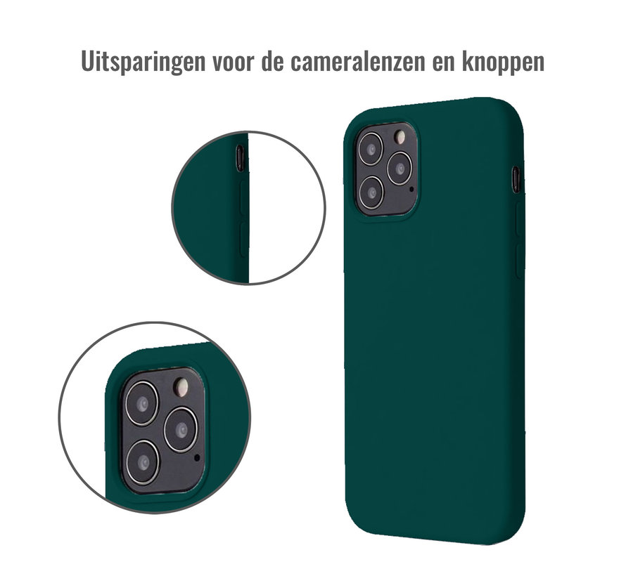 iPhone 12 Back Cover Hoesje - Siliconen - Case - Backcover - Apple iPhone 12 - Donkergroen