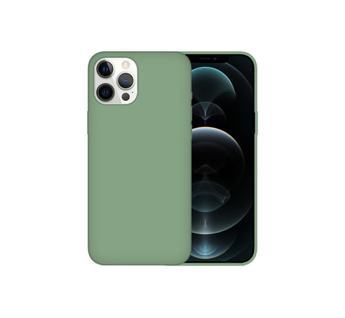JVS Products iPhone 12 Case Hoesje Siliconen Back Cover - Apple iPhone 12 - Saliegroen