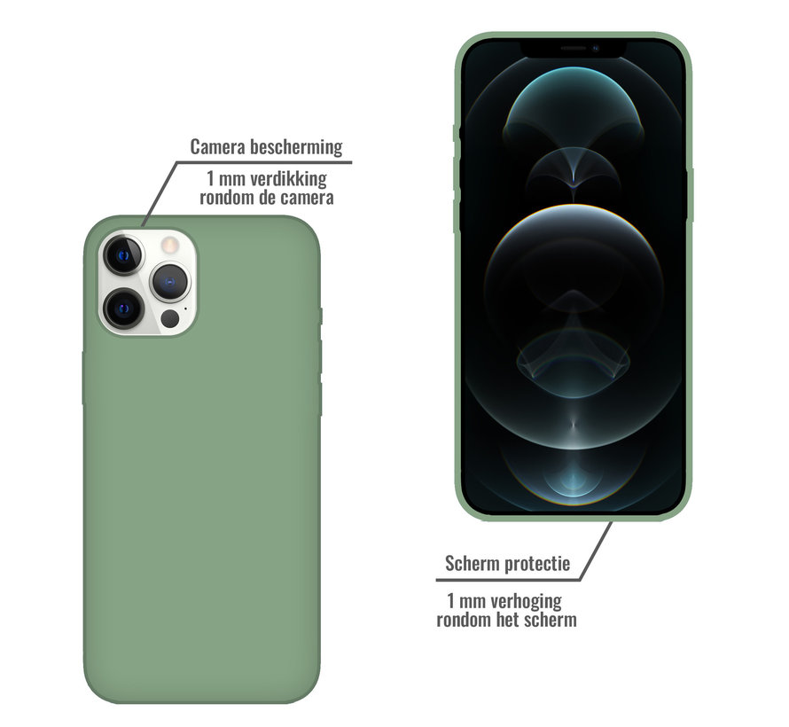 iPhone 12 Back Cover Hoesje - Siliconen - Case - Backcover - Apple iPhone 12 - Saliegroen