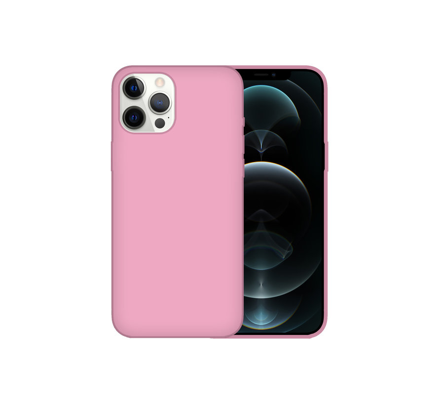 iPhone 12 Back Cover Hoesje - Siliconen - Case - Backcover - Apple iPhone 12 - Roze