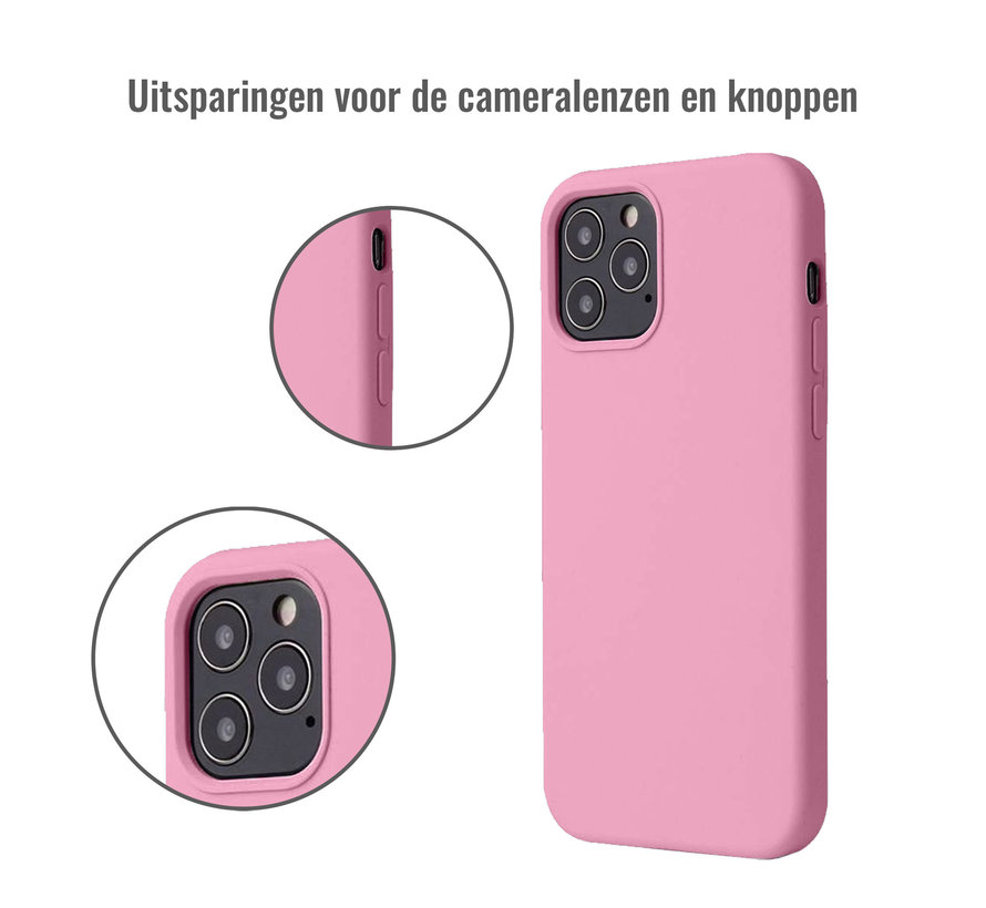 iPhone 12 Case Hoesje Siliconen Back Cover - Apple iPhone 12 - Roze