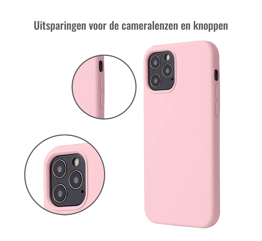 iPhone 12 Case Hoesje Siliconen Back Cover - Apple iPhone 12 - Oudroze