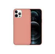 JVS Products iPhone 12 Back Cover Hoesje - Siliconen - Case - Backcover - Apple iPhone 12 - Zalmroze