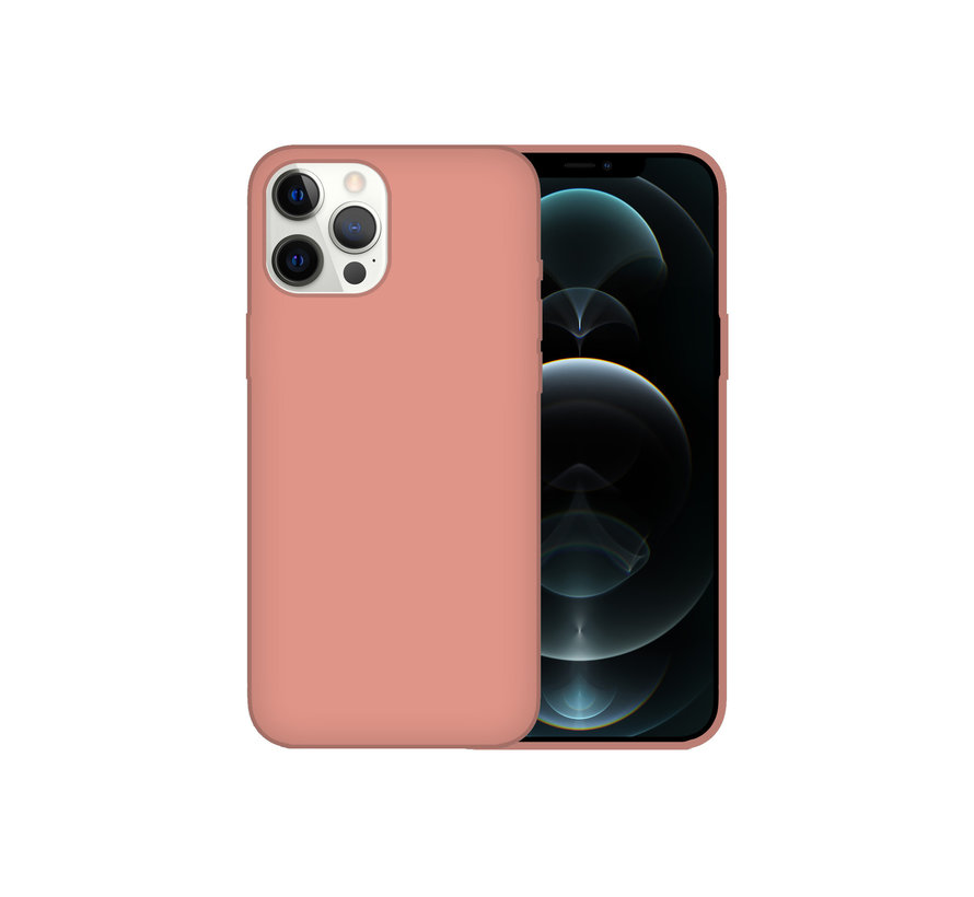 iPhone 12 Case Hoesje Siliconen Back Cover - Apple iPhone 12 - Zalmroze