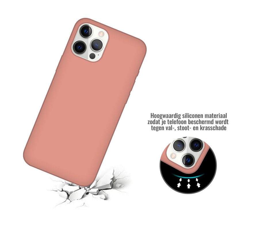 iPhone 12 Back Cover Hoesje - Siliconen - Case - Backcover - Apple iPhone 12 - Zalmroze