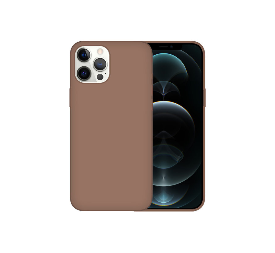 iPhone 12 Back Cover Hoesje - Siliconen - Case - Backcover - Apple iPhone 12 - Bruin