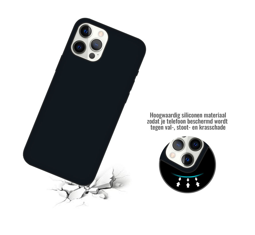 iPhone 12 Back Cover Hoesje - Siliconen - Case - Backcover - Apple iPhone 12 - Zwart