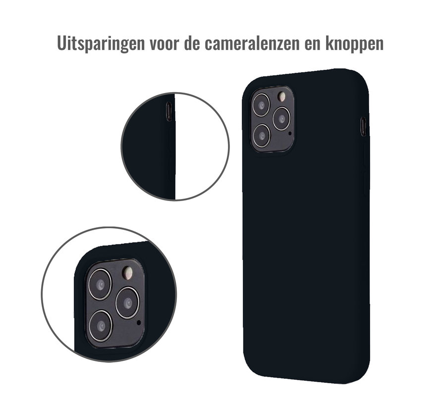 iPhone 12 Case Hoesje Siliconen Back Cover - Apple iPhone 12 - Zwart