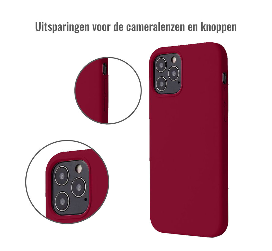 iPhone 12 Pro Back Cover Hoesje - Siliconen - Case - Backcover - Apple iPhone 12 Pro - Bordeaux Rood