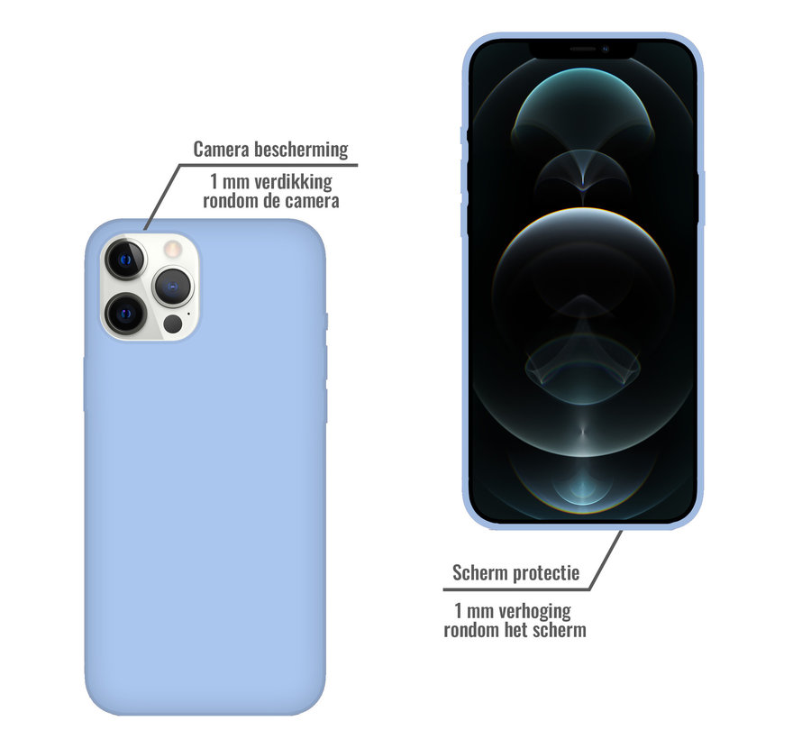 iPhone 12 Pro Case Hoesje Siliconen Back Cover - Apple iPhone 12 Pro - Paars/Blauw