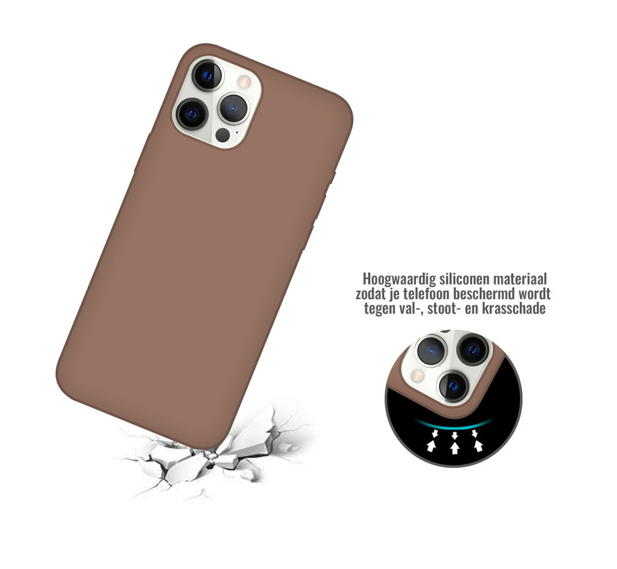 iPhone 12 Pro Back Cover Hoesje - Siliconen - Case - Backcover - Apple iPhone 12 Pro - Bruin