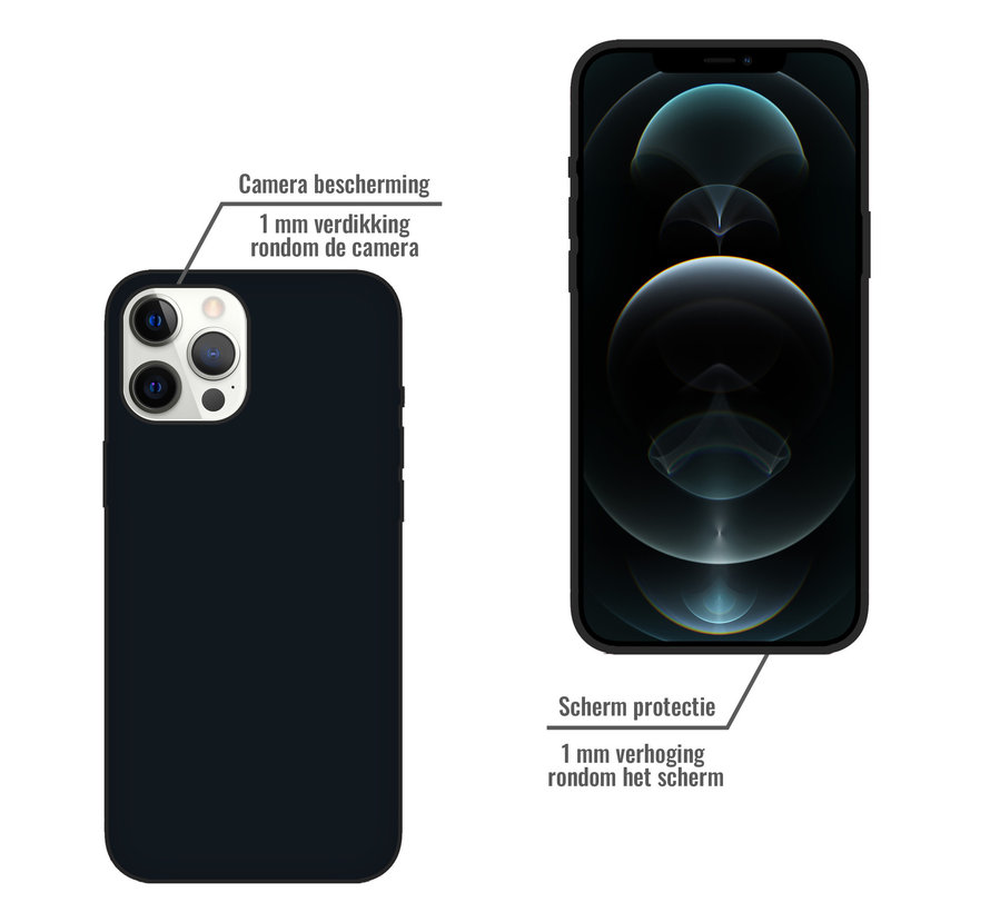 iPhone 12 Pro Back Cover Hoesje - Siliconen - Case - Backcover - Apple iPhone 12 Pro - Zwart