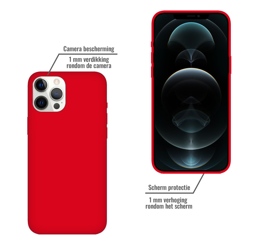 iPhone 12 Pro Max Case Hoesje Siliconen Back Cover - Apple iPhone 12 Pro Max - Rood