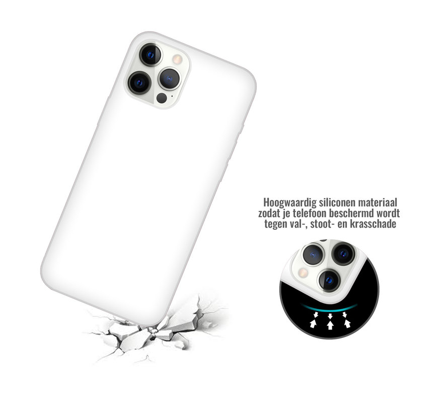 iPhone 12 Pro Max Back Cover Hoesje - Siliconen - Case - Backcover - Apple iPhone 12 Pro Max - Wit
