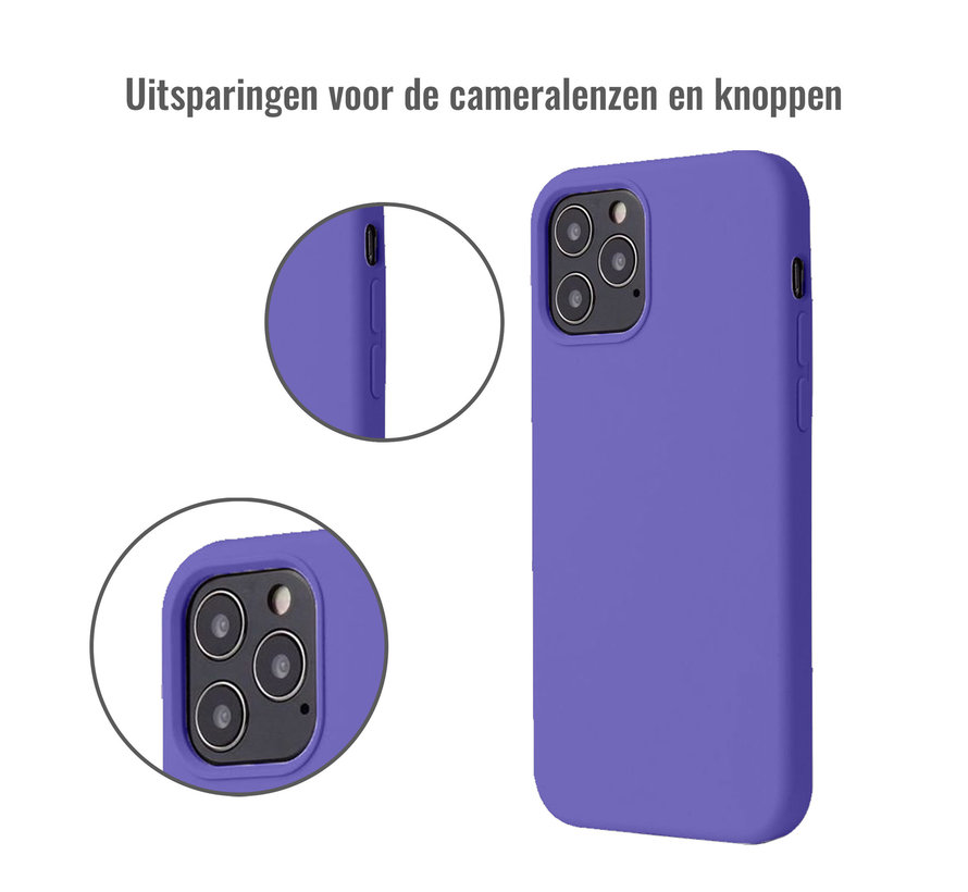 iPhone 12 Pro Max Case Hoesje Siliconen Back Cover - Apple iPhone 12 Pro Max - Paars