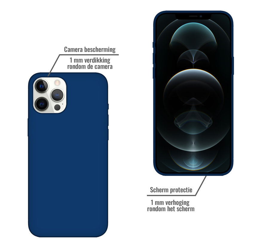 iPhone 12 Pro Max Back Cover Hoesje - Siliconen - Case - Backcover - Apple iPhone 12 Pro Max - Midnight Blue/Donker Blauw
