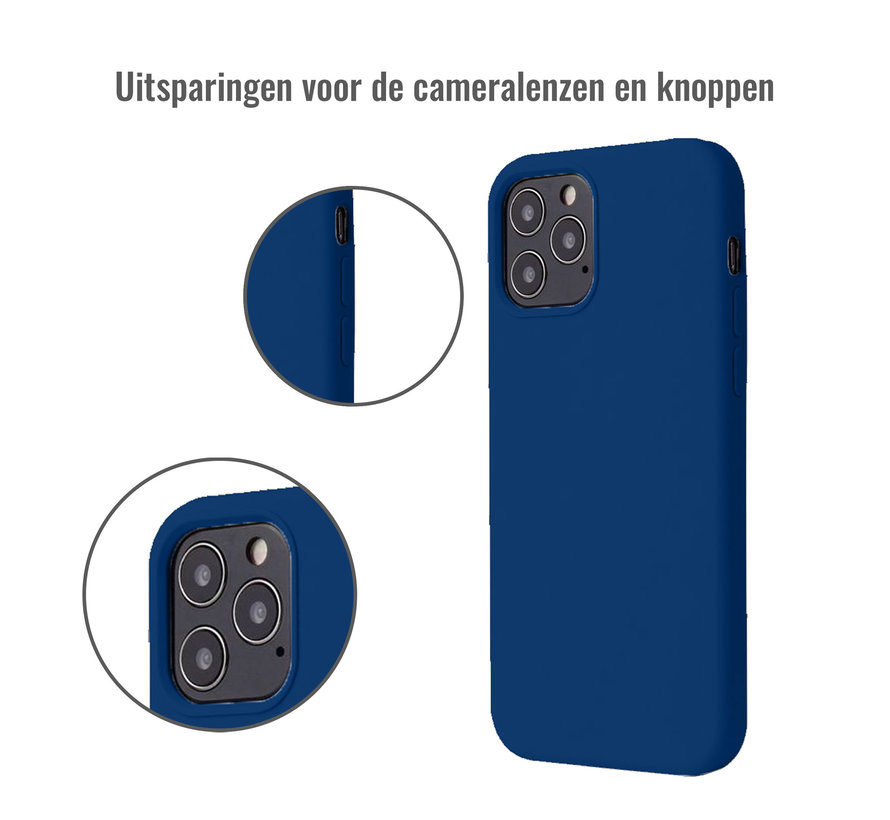iPhone 12 Pro Max Case Hoesje Siliconen Back Cover - Apple iPhone 12 Pro Max - Midnight Blue/Donker Blauw