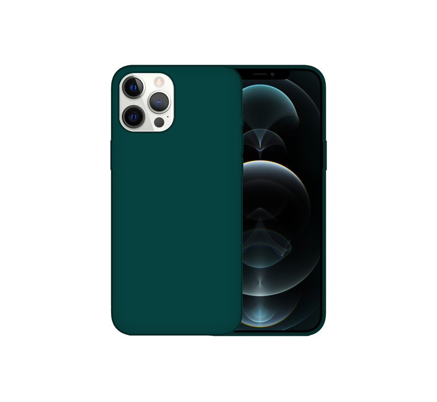 iPhone 12 Pro Max Back Cover Hoesje - Siliconen - Case - Backcover - Apple iPhone 12 Pro Max - Donkergroen